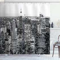 "Ambesonne New York Shower Curtain, Panorama of Manhattan High Buildings of City Famous Monument USA Black and White Photo, Cloth Fabric Bathroom Decor Set with Hooks, 84"" Long Extra, Monochrome"