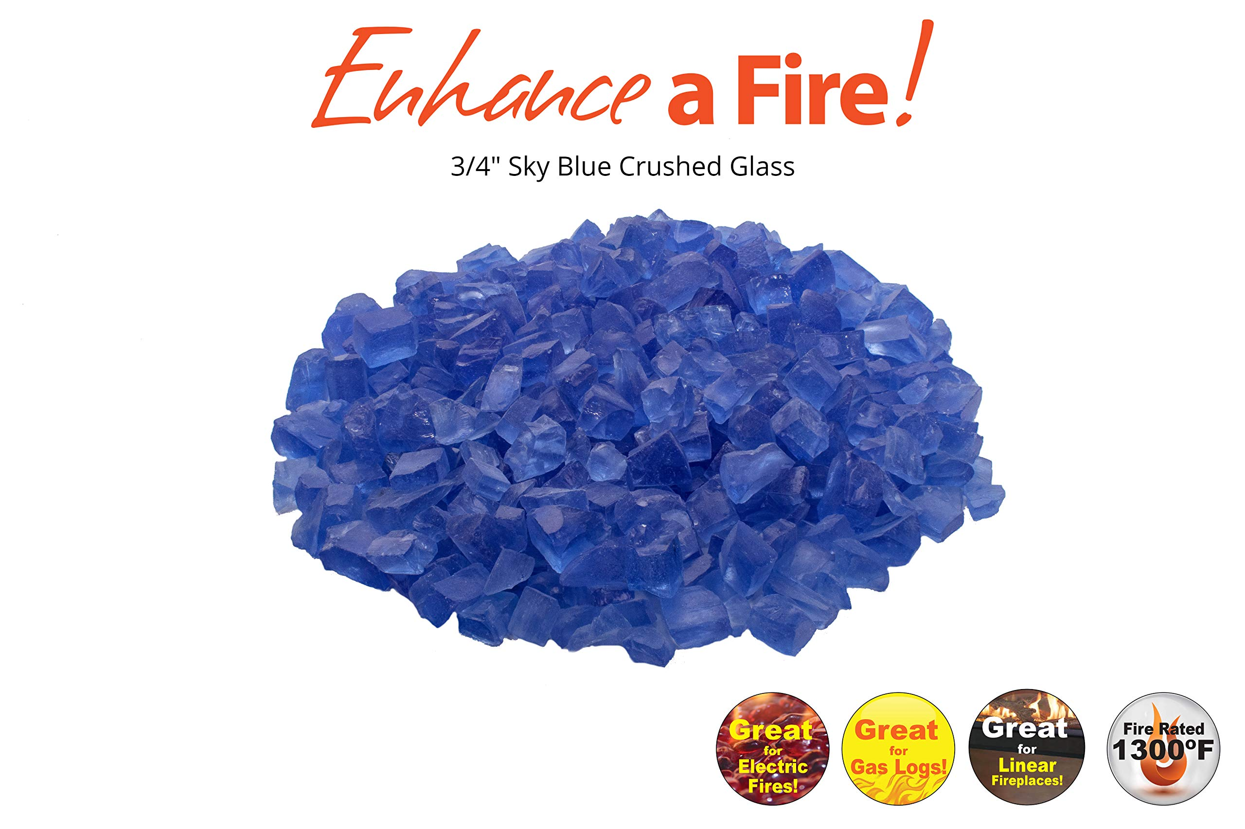 0.75 inch Recycled Crushed Fire Glass - Sky Blue (10 lbs)