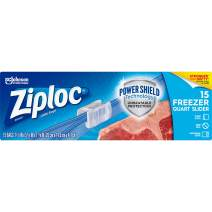 Ziploc Freezer Slider Bag with New Power Shield Technology, Expandable Bottom, Quart, 15 Count