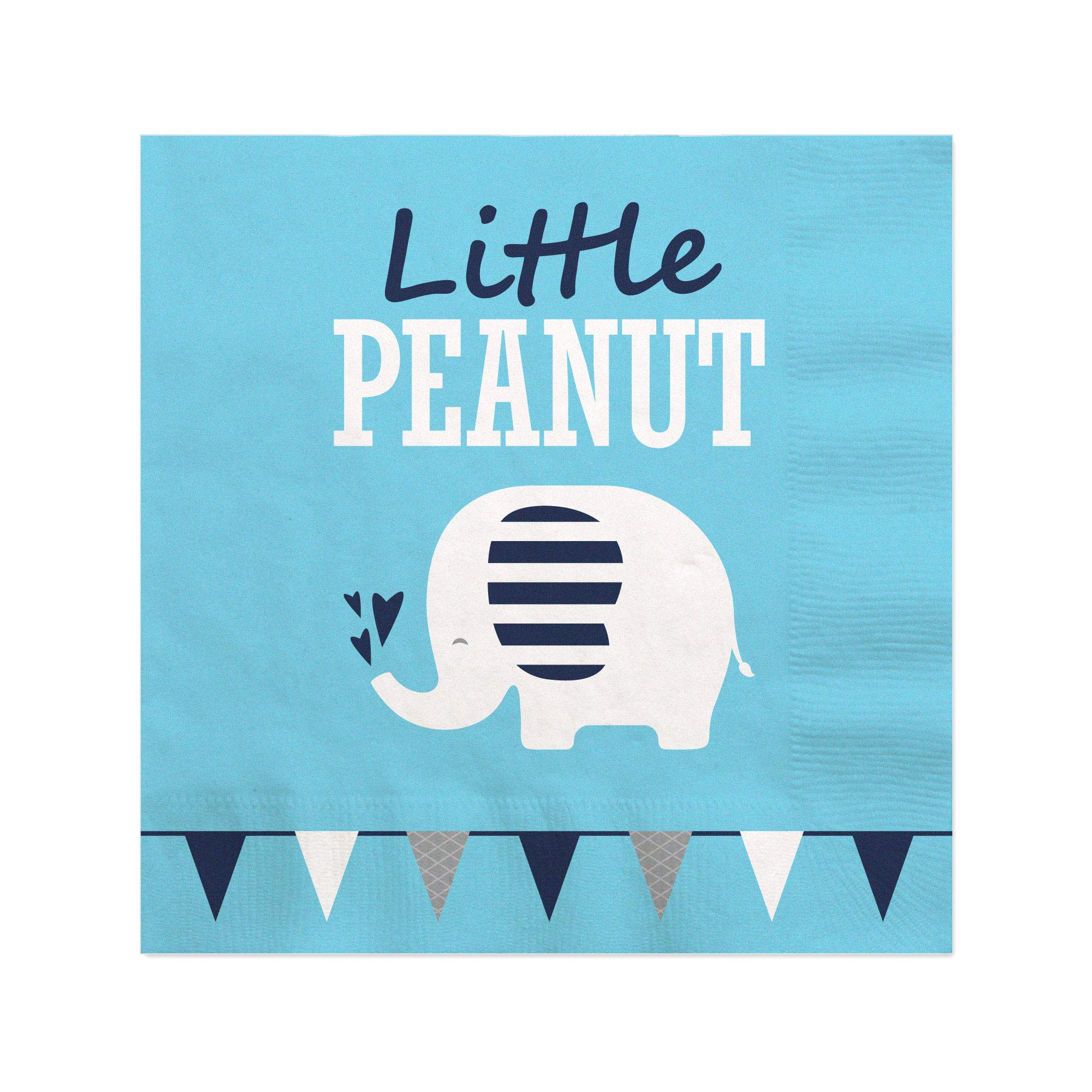 Big Dot of Happiness Blue Elephant - Boy Baby Shower or Birthday Party Cocktail Beverage Napkins (16 Count)