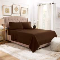 """Empyrean Bedding 14"""" - 16"""" Deep Pocket Fitted Sheet 4 Piece Set - Hotel Luxury Soft Double Brushed Microfiber Top Sheet - Wrinkle Free Fitted Bed Sheet, Flat Sheet and 2 Pillow Cases - Full, Brown"""