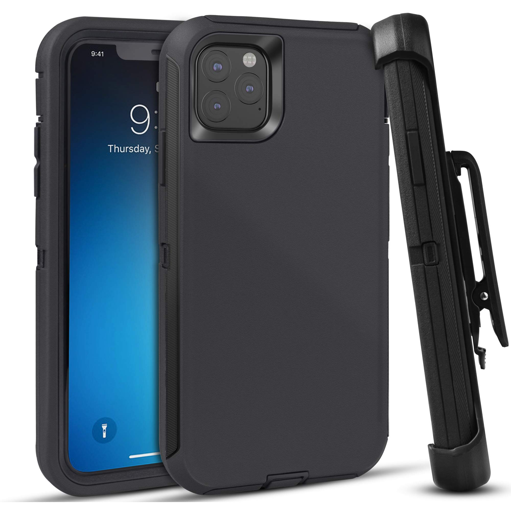 FOGEEK Case for iPhone 11 Pro, Heavy Duty Rugged Case, Belt Clip Holster Kickstand Protective Cover [Shockproof] Compatible for iPhone 11 Pro [5.8 Inch] (Black)