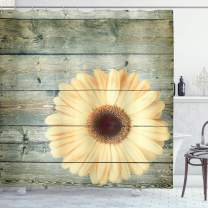 "Lunarable Floral Shower Curtain, Rustic Wooden Planks with Sunflower Floral Oak Tree Daisy Gerbera Country, Cloth Fabric Bathroom Decor Set with Hooks, 75"" Long, Grey Yellow"