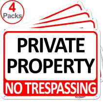 TICONN 4-Pack Private Property Sign, No Trespassing Aluminum Warning Sign, 7x10 Inches Indoor/Outdoor Use for Home Business Security Alert, Reflective, UV Protected & Waterproof