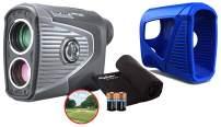 Bushnell Pro XE Golf Laser Rangefinder Bundle   with Protective Skin (Blue), Microfiber Towel and Extra CR2 Battery   201950   Magnetic Cart Mount, 500+ Yards, Slope + Elements, OLED