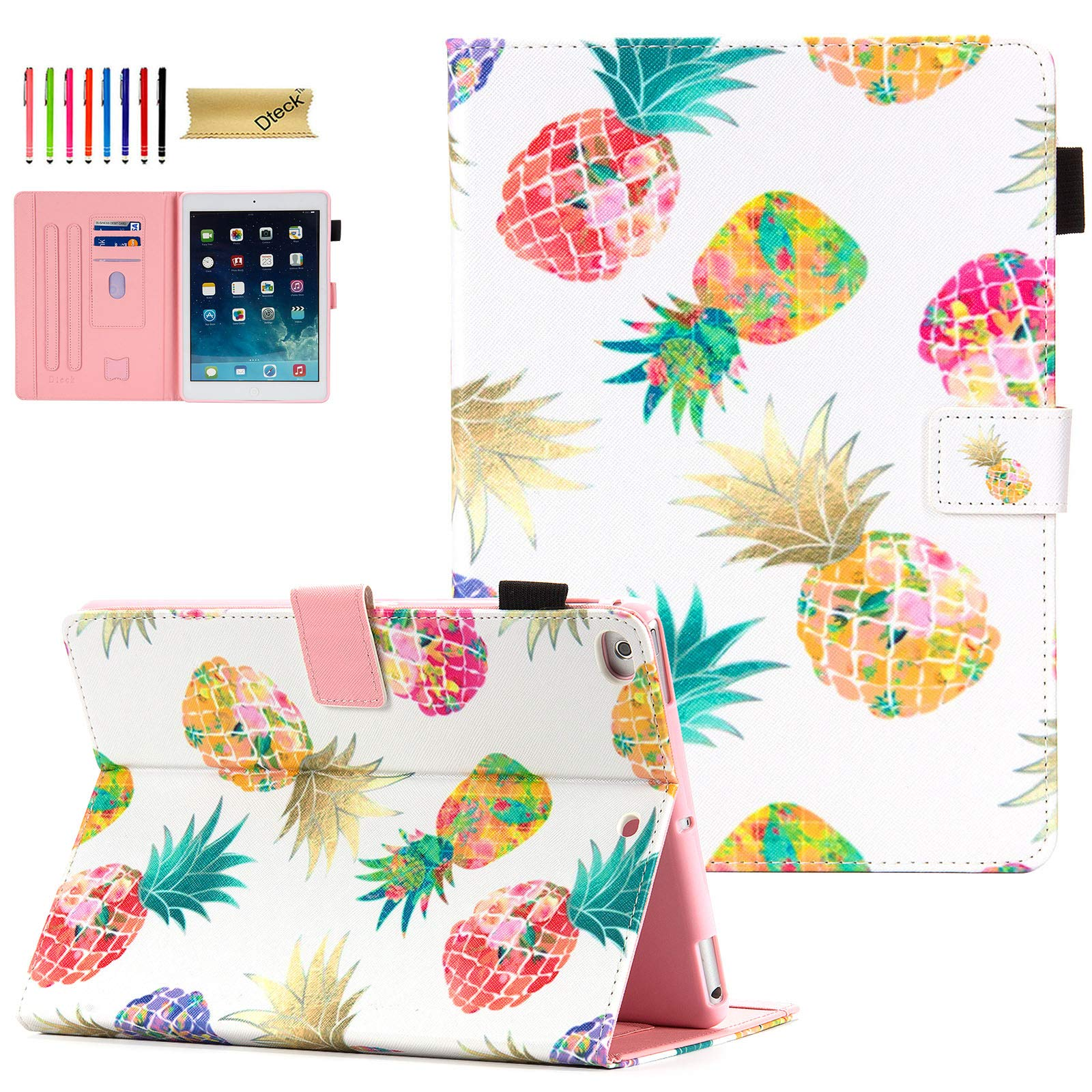 iPad 9.7 Case 2018/2017, iPad 6th/5th Gen Case with Pencil Holder, Dteck Premium Leather Folio Stand Case, Auto Wake/Sleep Protective Cover for iPad 9.7 2018/2017, iPad Air 1/2, Colorful Pineapples
