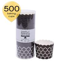 Simply Baked Large Paper Baking Cup, 500-Pack, Black Quadrafoil