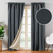 Top Finel Faux Linen 100% Blackout Curtains 96 Inches Long for Bedroom Living Room Thermal Insulated Drapes Room Darkening Rod Pocket Window Curtains, Dark Grey, 2 Panels