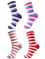 Women's Super Soft Warm Microfiber Fuzzy Cozy Home Stripe Socks - 4 Pair Assortments