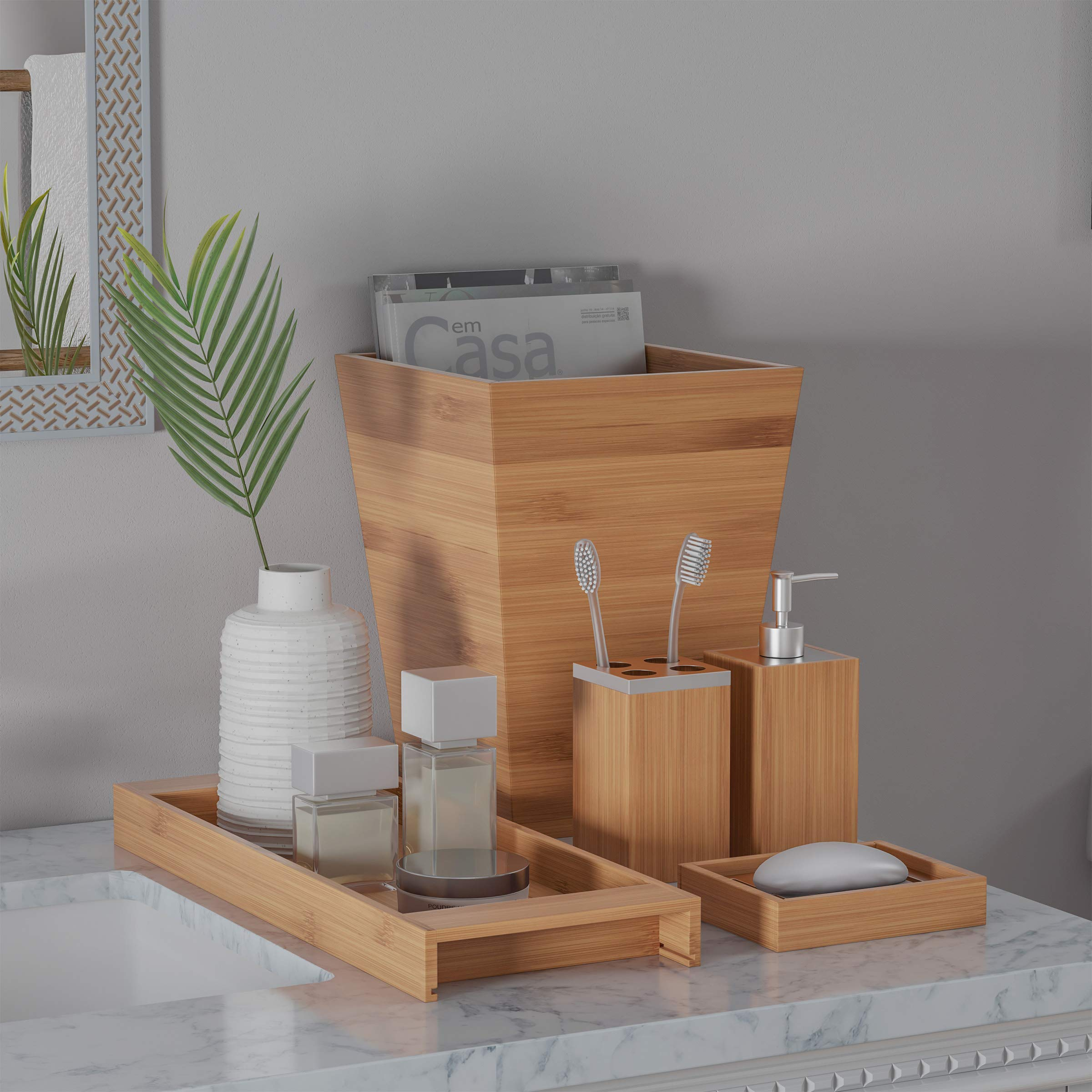 Lavish Home Bamboo Bath Accessories 5 Piece Set Natural Wood Tray Lotion Dispenser Soap Dish Toothbrush Holder Wastebasket Bathroom And Vanity