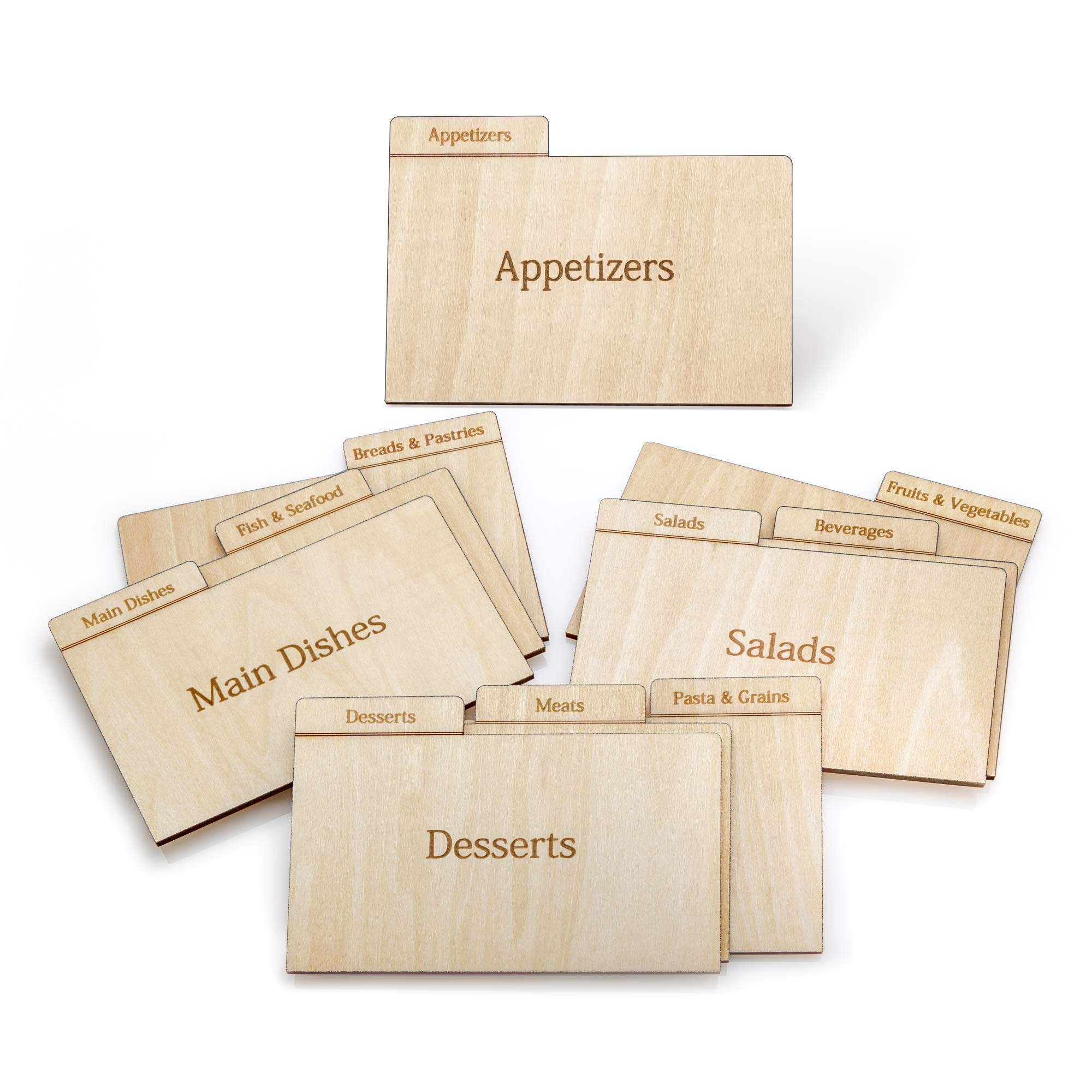 Prosumer's Choice Real Wood Recipe Organizer Categorized by Specialty, for 3x5 Inch Cards