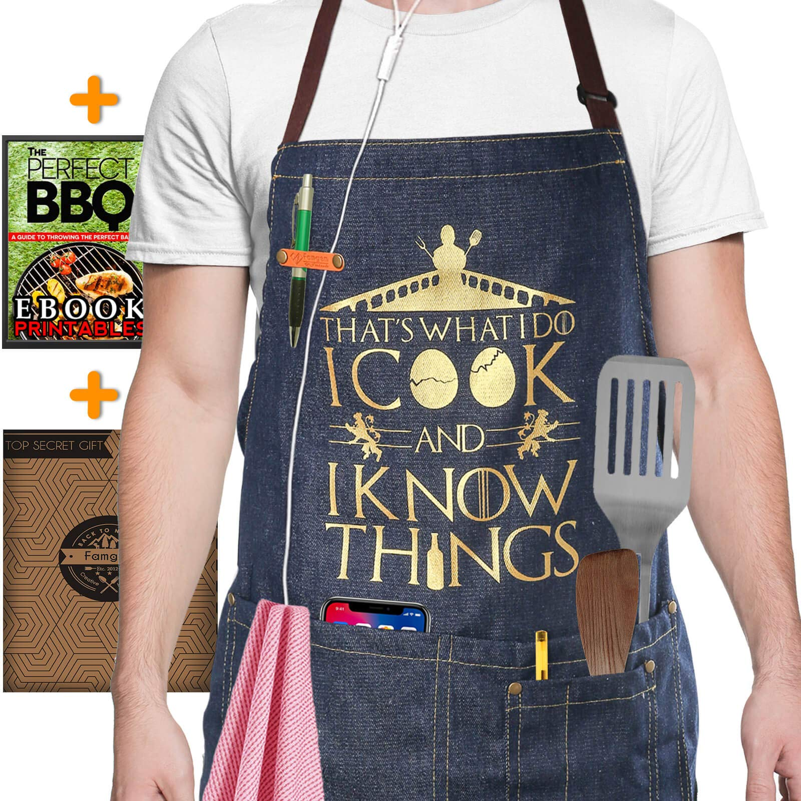 Kitchen Denim Aprons for Men - I Cook and I Know Things Women Funny for Grill, Cooking / 100% Cotton with 4 Pockets - Inspired by Game of Thrones
