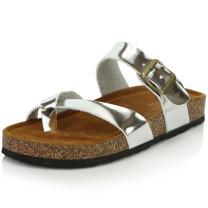 DailyShoes Women's Fashion Flat Thong Strap Buckle Sandal Shoes