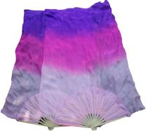 Winged Sirenny 1 Pair 1.5m Belly Dance Silk Fan Veil, Pink Starts