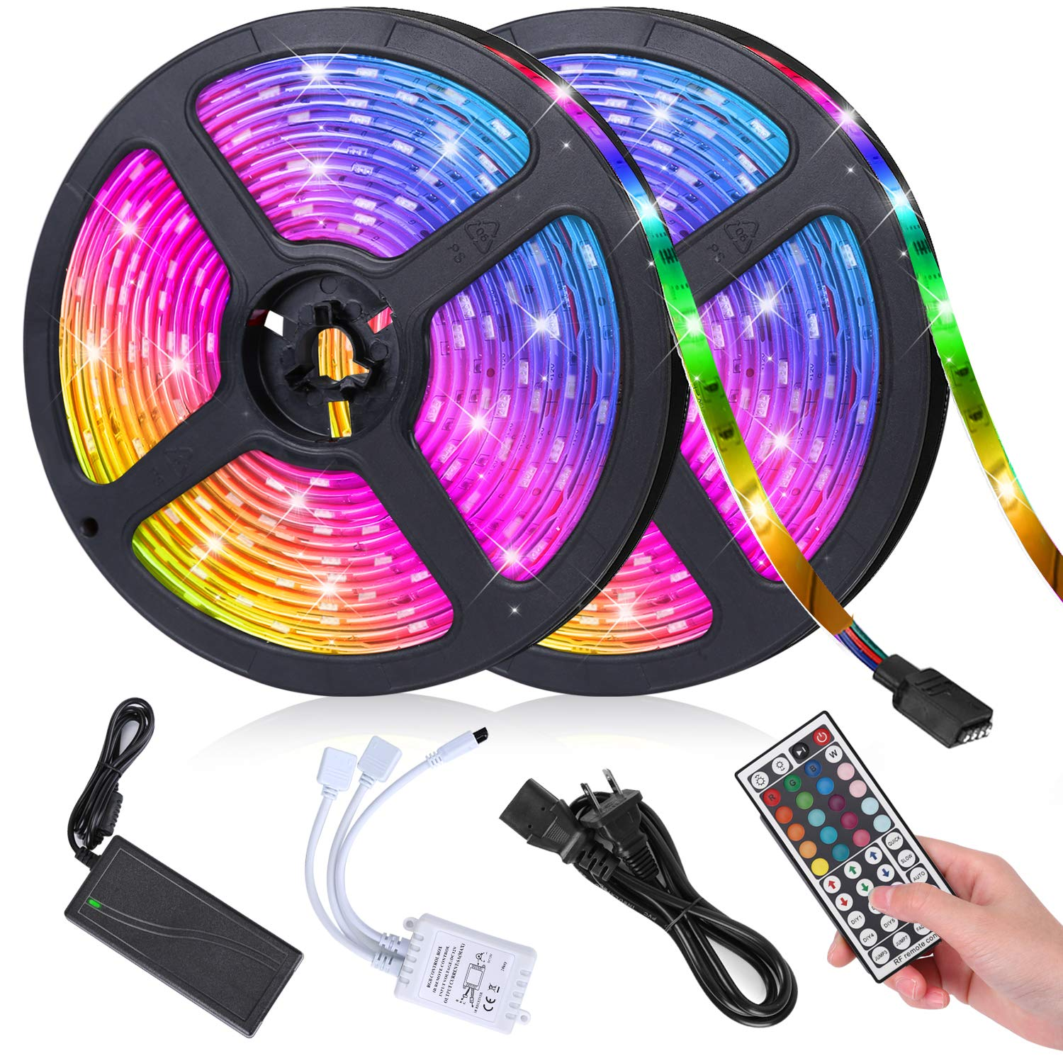 LED Strip Lights, IIVWVII 32.8ft/10M 5050 RGB Color Changing Rope Lights Flexible Strip Light Kit with 44 Keys IR Remote Controller & 12V 5A Power Supply for Home Kitchen TV Party