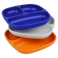 Re-Play Made in USA 3pk Divided Plates with Deep Sides for Easy Baby, Toddler, Child Feeding - Navy Blue, White & Orange (Sport)