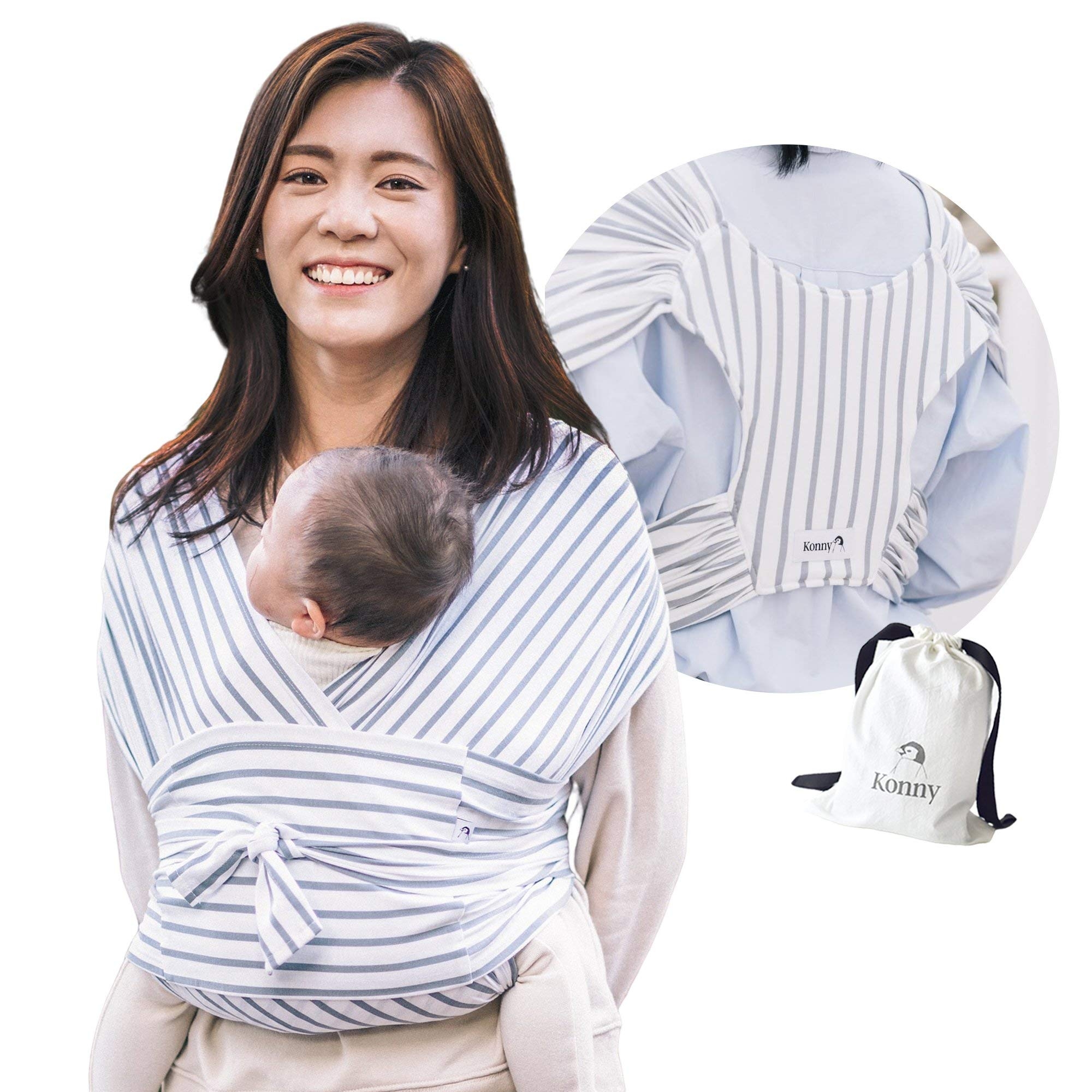 Konny Baby Carrier | Ultra-Lightweight, Hassle-Free Baby Wrap Sling | Newborns, Infants to 44 lbs Toddlers | Soft and Breathable Fabric | Sensible Sleep Solution (Stripe, 3XL)