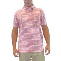 Margaritaville Men's Short Sleeve 100% Cotton Brush Stripe Pepe's Polo Shirt