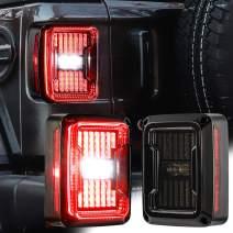 Auxbeam LED Tail Light, 2 PCS Upgraded JK LED Taillights Smoked Lens LED Reverse Lights Brake Lights Turn Signal Lamp Daytime Running Lights for Jeep Wrangler JK 2007-2017