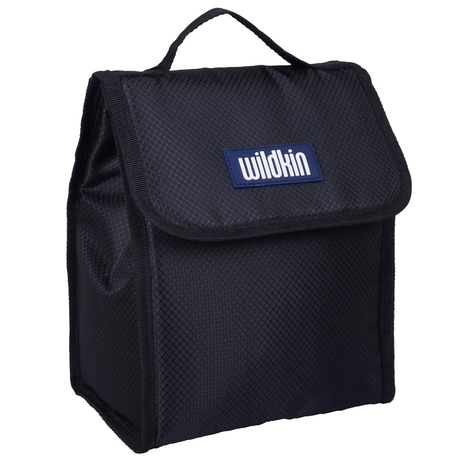 Wildkin Large Insulated Lunch Bag for Men and Women, Perfect Size for Packing Hot or Cold Snacks for Work and Travel, Measures 10 x 8.5 x 5 Inches, Mom's Choice Award Winner, BPA-free (Rip-Stop Black)