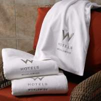 "W Hotels Pool Towel - Fast-Drying Combed Cotton Pool Towel - White with Gray Logo - 40"" x 76"""