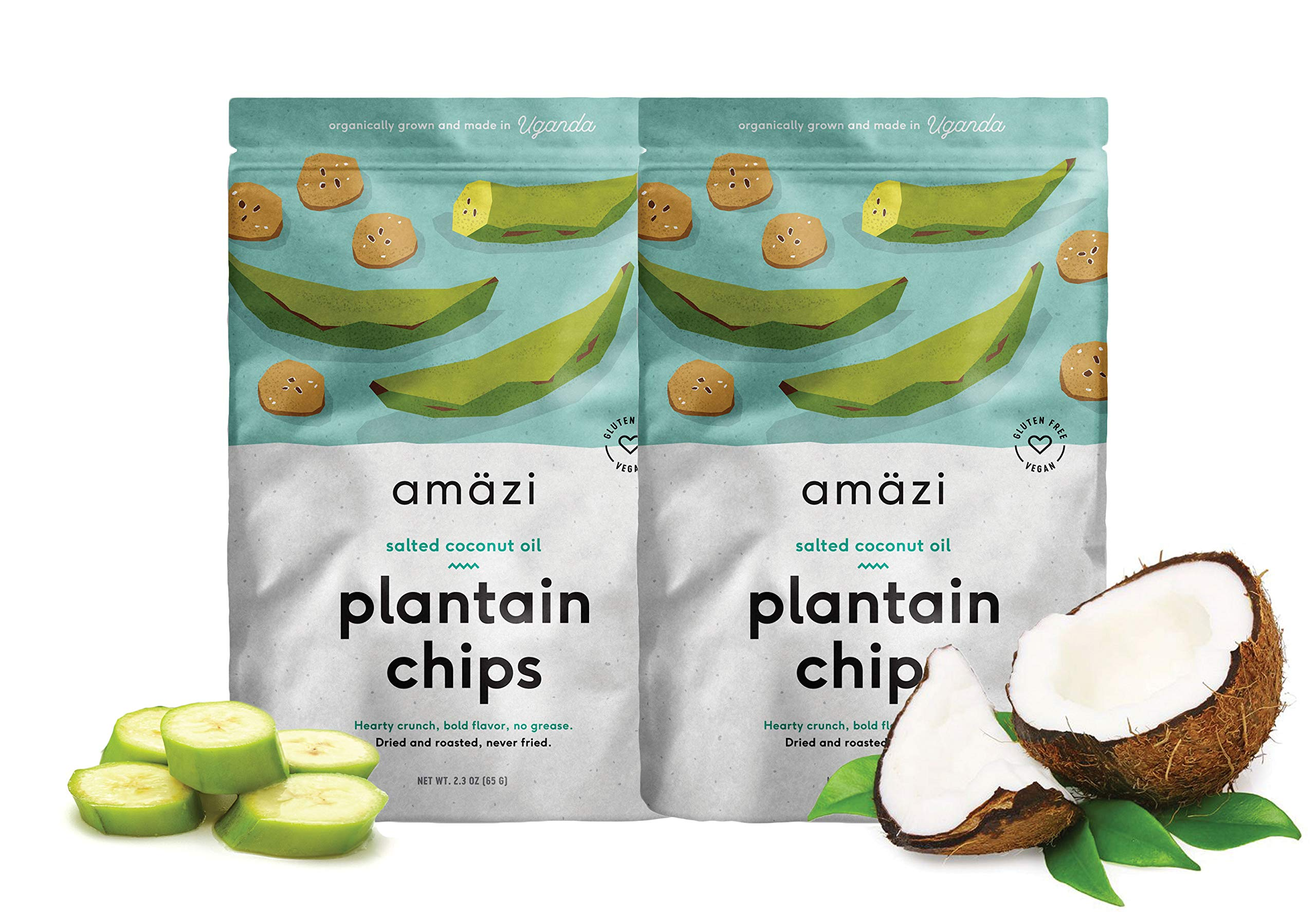 Amazi Dried & Roasted Plantain Chips - Salted Coconut Oil Flavor - Organically Grown, Fair Trade, Gluten-Free, Certified Vegan Chips - Paleo Friendly Healthy Snacks - Uses Heart-Healthy Fats - 2 Pack