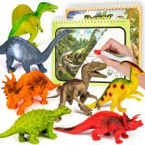 Toyk Dinosaur Toys for boy and Girl 3 Year Old & Up,12 Pack Kids Animal Dinosaur with Dinosaur Doodle Book (Realistic Dinosaur Magic Doodle Book