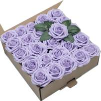 Umiss Wedding Bouquet 50pcs Artificial Flowers Lilac Real Touch Artificial Roses for Bouquets Centerpieces Wedding Party Baby Shower DIY Decorations (Lilac)