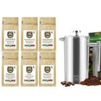 Java Planet - Father's Day Coffee Gift Set - Organic Whole Bean Coffee - Gourmet Specialty Craft Roasted Arabica Beans - 6 Coffee Sampler & 1 French Press
