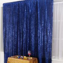 Navy Blue PartyDelight Sequin Backdrop Photography and Photo Booth, Wedding, Curtain, 6FTx7FT