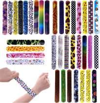 FUN LITTLE TOYS 72PCs Slap Bracelets for Party Favors Pack with Colorful Hearts Emoji Animal Print Design Retro Slap Bands for Kids Prizes, Kids Party Favors, Pinata Fillers