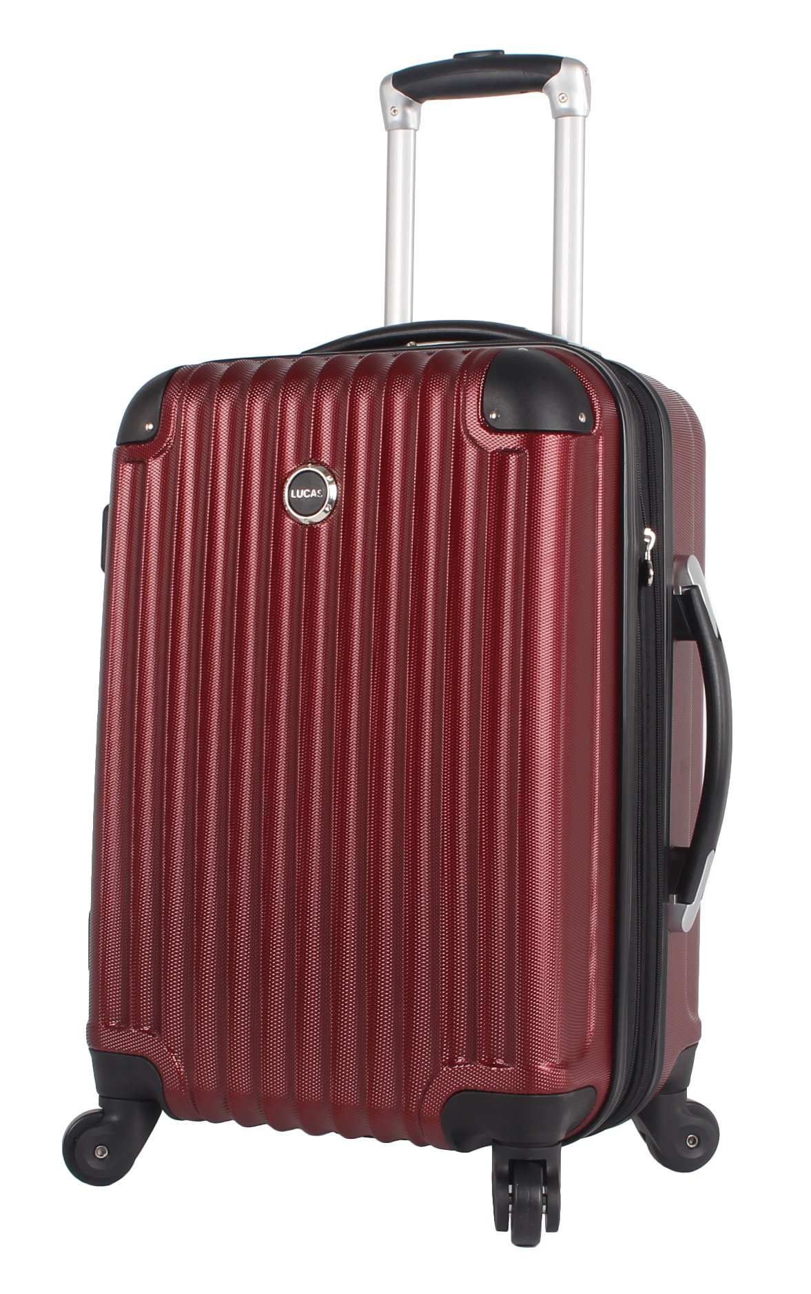 Lucas Outlander 20 Inch Carry On Luggage Collection -Expandable Scratch Resistant (ABS + PC) Hardside Suitcase- Lightweight Durable Checked Bag With 4-Rolling Spinner Wheels (20in, Burgundy)