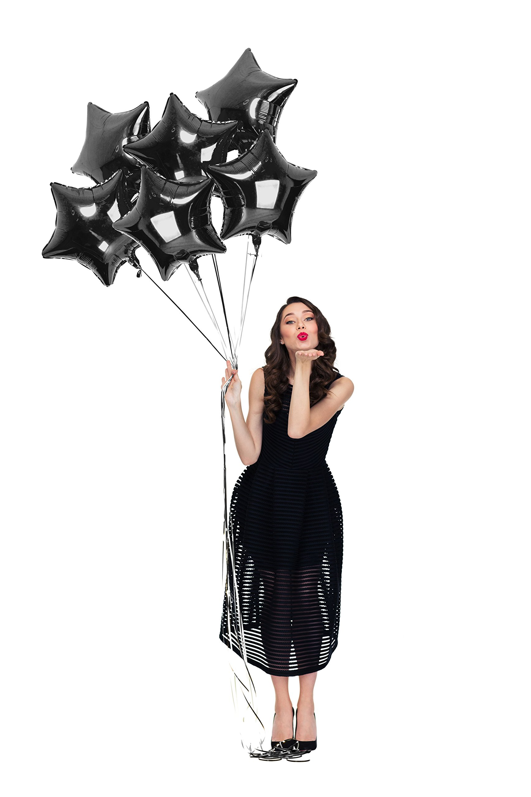Treasures Gifted Black Star Shape Foil Balloons 18 Inch Sparkly Mylar 6 Pack for Birthday Wedding Graduation New Year Eve Party Supplies