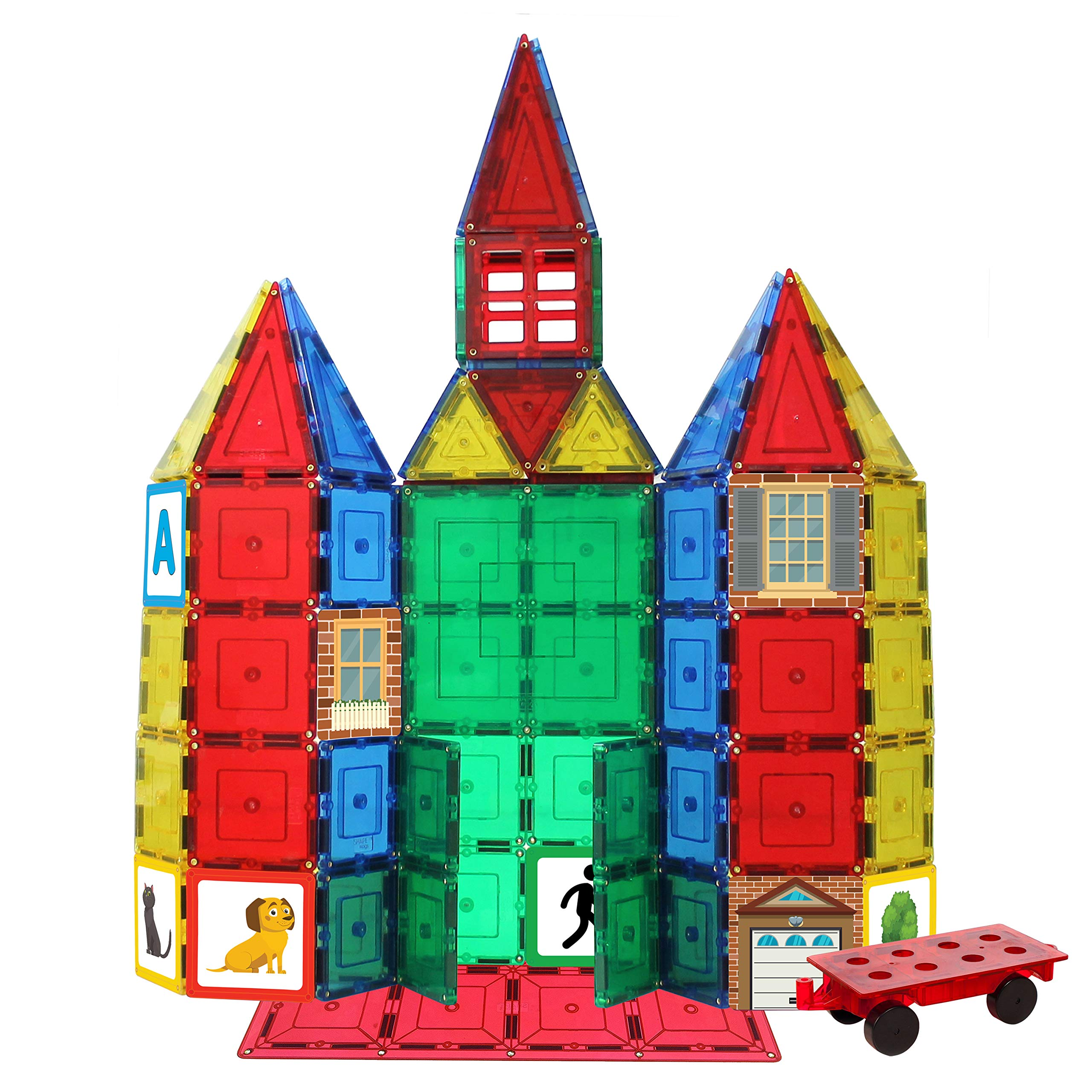 Shapemags 100 Piece Tiles Set Clear Colors Magnetic Blocks, Made with Power+Magnets, Includes 24 StileMags, a 12X12 Stabilizer Plate and Car Base
