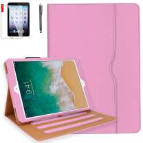 iPad Case 6th Generation with Bonus Screen Protector and Stylus - iPad 9.7 inch 2018 2017 Air2 Air1 Case Cover - Hand Strap, Auto Sleep Wake, Multi-Angle Stand A1822 A1823 A1474 A1475 (Light Pink)