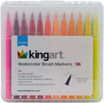 KingArt 410-36 Studio Tip Watercolor Brush Markers, Set of 36, Unique Colors