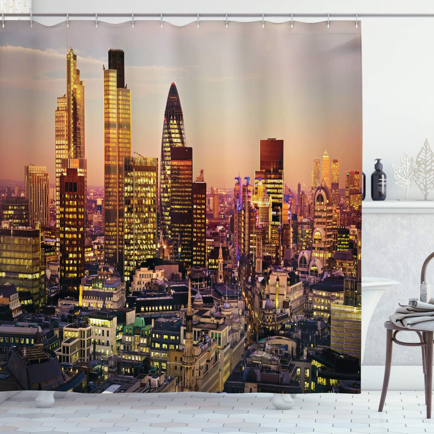 """Ambesonne New York Shower Curtain, Global City Sunset Reflecting on Skyscrapers Famous Town Landmark View Photo Print, Cloth Fabric Bathroom Decor Set with Hooks, 75"""" Long, Brown Purple"""