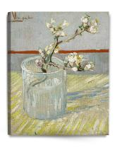 DECORARTS - Sprig of Flowering Almond Blossom in a Glass, Vincent Van Gogh Art Reproduction. Giclee Canvas Prints Wall Art for Home Decor 30x24