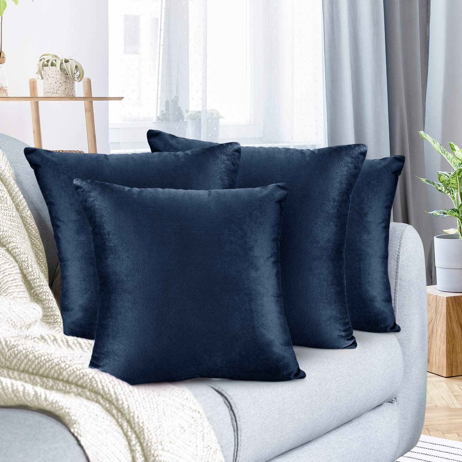 """Nestl Bedding Throw Pillow Cover 18"""" x 18"""" Soft Square Decorative Throw Pillow Covers Cozy Velvet Cushion Case for Sofa Couch Bedroom, Set of 4, Navy Blue"""