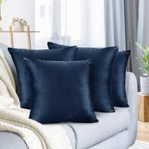 """Nestl Bedding Throw Pillow Cover 24"""" x 24"""" Soft Square Decorative Throw Pillow Covers Cozy Velvet Cushion Case for Sofa Couch Bedroom, Set of 4, Navy Blue"""