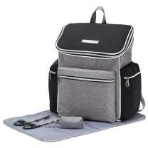 SoHo CobbleHill Diaper Backpack Bag 5pc, GrayBlack