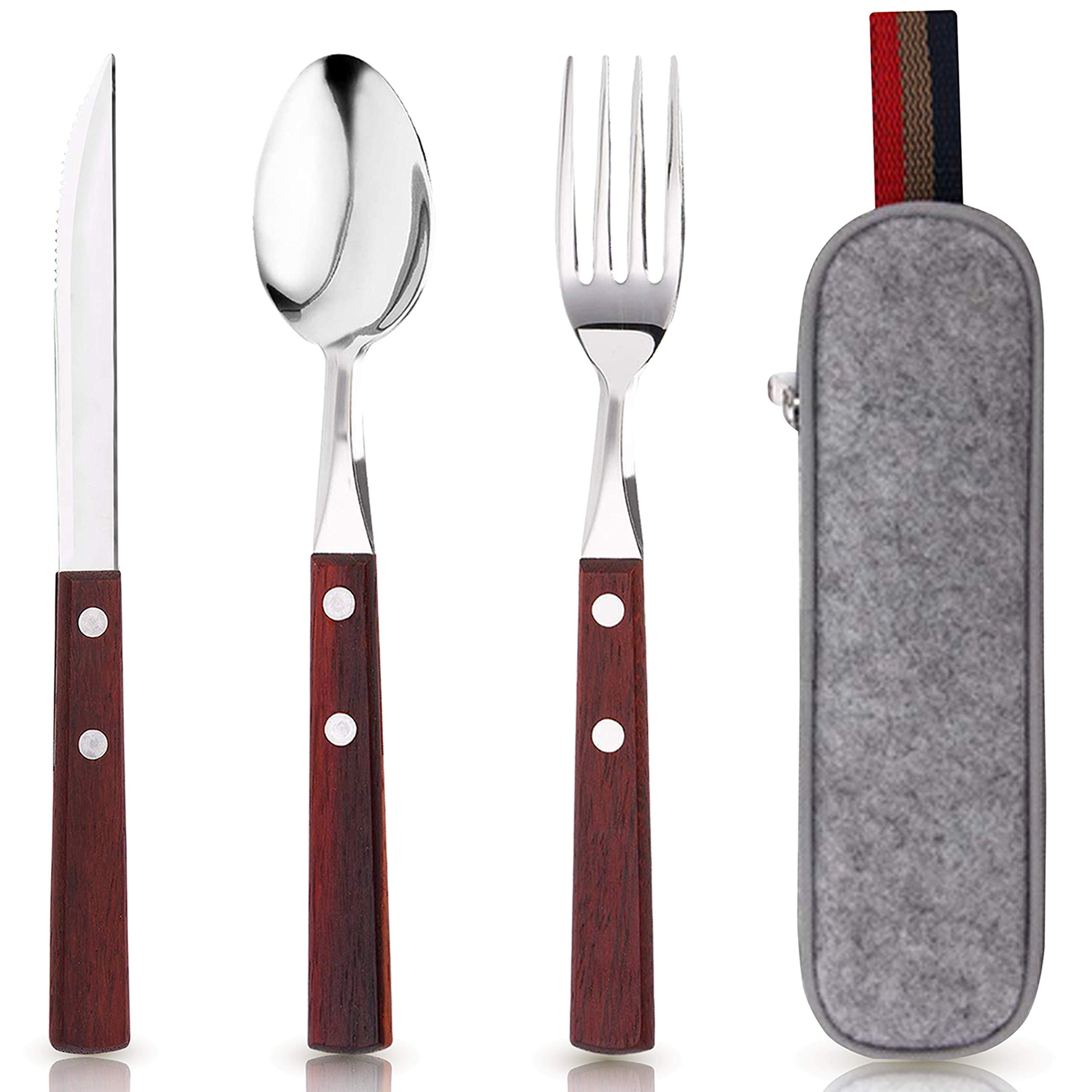 PREMIUM QUALITY Stainless Steel travel utensils with case, Healthy & Eco-Friendly 3pc Full Size Fork, Spoon, Portable Utensils Set with Case, reusable utensils with case
