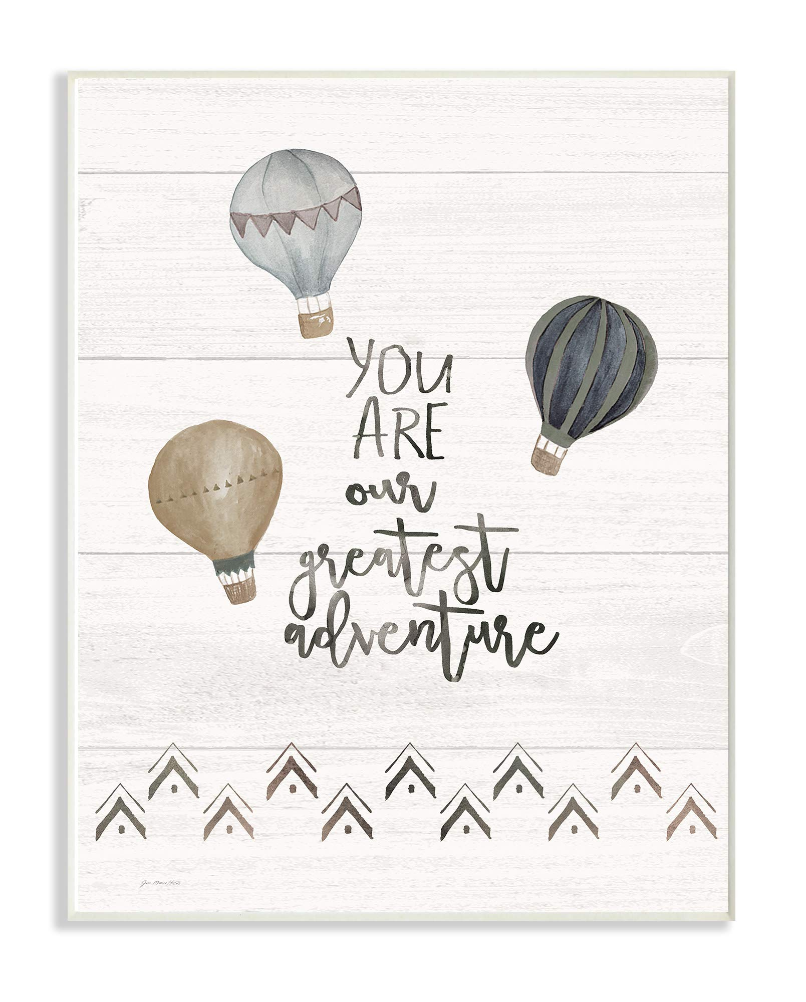 The Kids Room By Stupell Our Greatest Adventure Neutral Grey Hot Air Balloons Wall Plaque Art, 10 x 15, Proudly Made in USA, Multi-Color