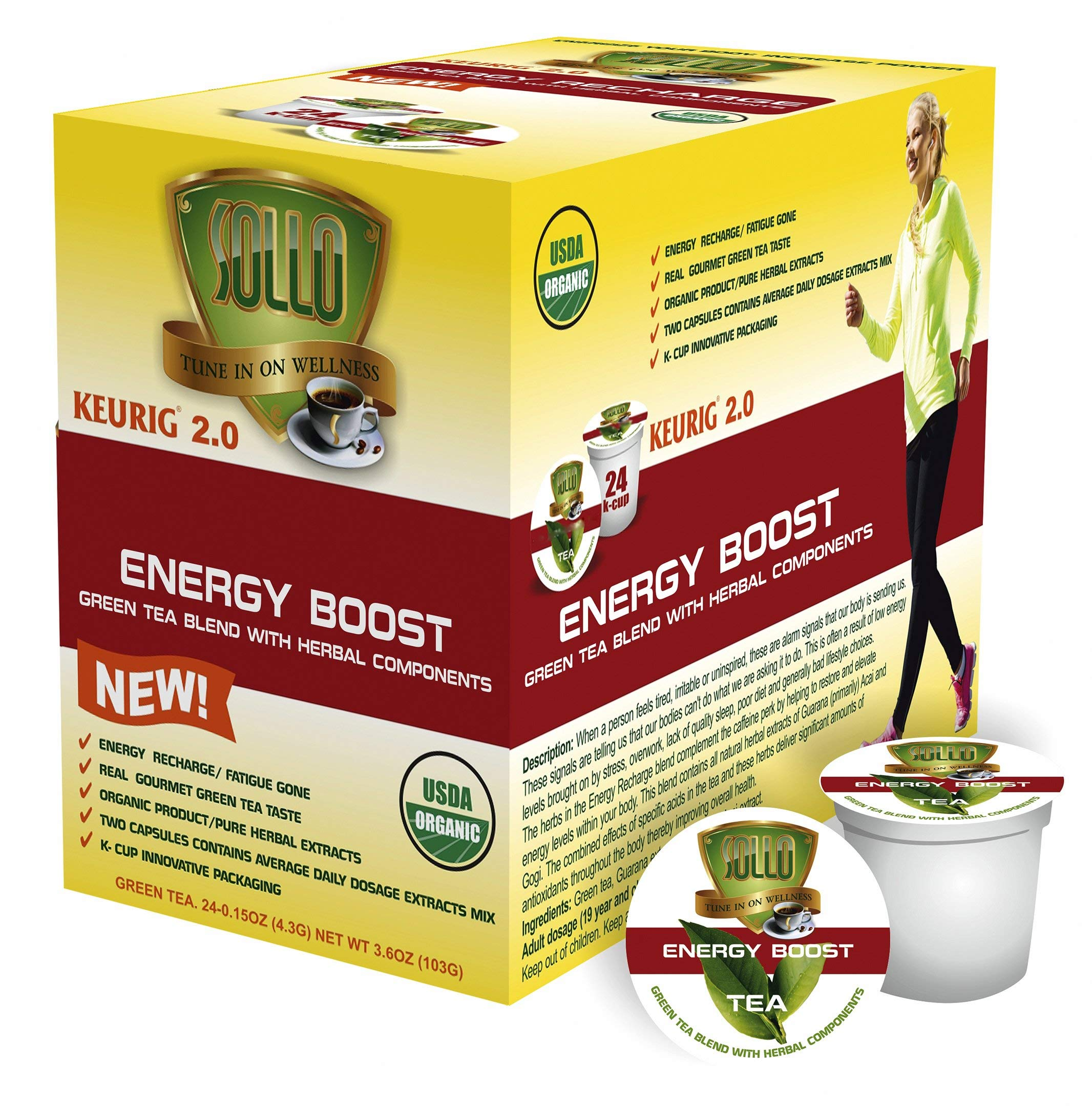 SOLLO Organic Green Tea Pods Compatible With 2.0 K-Cup Keurig Brewers, Energy Boost Organic Green Tea With Herbal Extracts, 24 Count per Box, Organic by USDA, Wellness Functional Tea