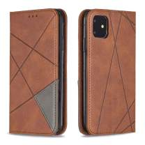 BeautyWill Wallet Case for iPhone 11 Case Card Holder Flip Stand PU Leather Fashion Stripe Protective Case Cover with Carrying Hole for iPhone 11 Brown