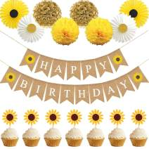 Sunflower Birthday Party Decorations Supplies Kit, Sunflower Happy Birthday Banner, Sunflowers Cupcake Toppers, Tissue Paper Fans and Pom Poms