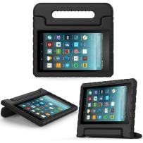 MoKo Case for All-New Amazon Fire 7 Tablet (7th Generation, 2017 Release Only) - Kids Shock Proof Convertible Handle Light Weight Super Protective Stand Cover for Fire 7, Black