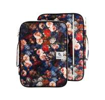 "Lazyaunti Zipper Portfolio Organizer A4 Note Pouch-Waterproof Document Bags/Zipper Binder/Paper Case for 13.3"" Mac,Tablet,Pens,washi Tape,Journals,Sketch Books (Carnation)"