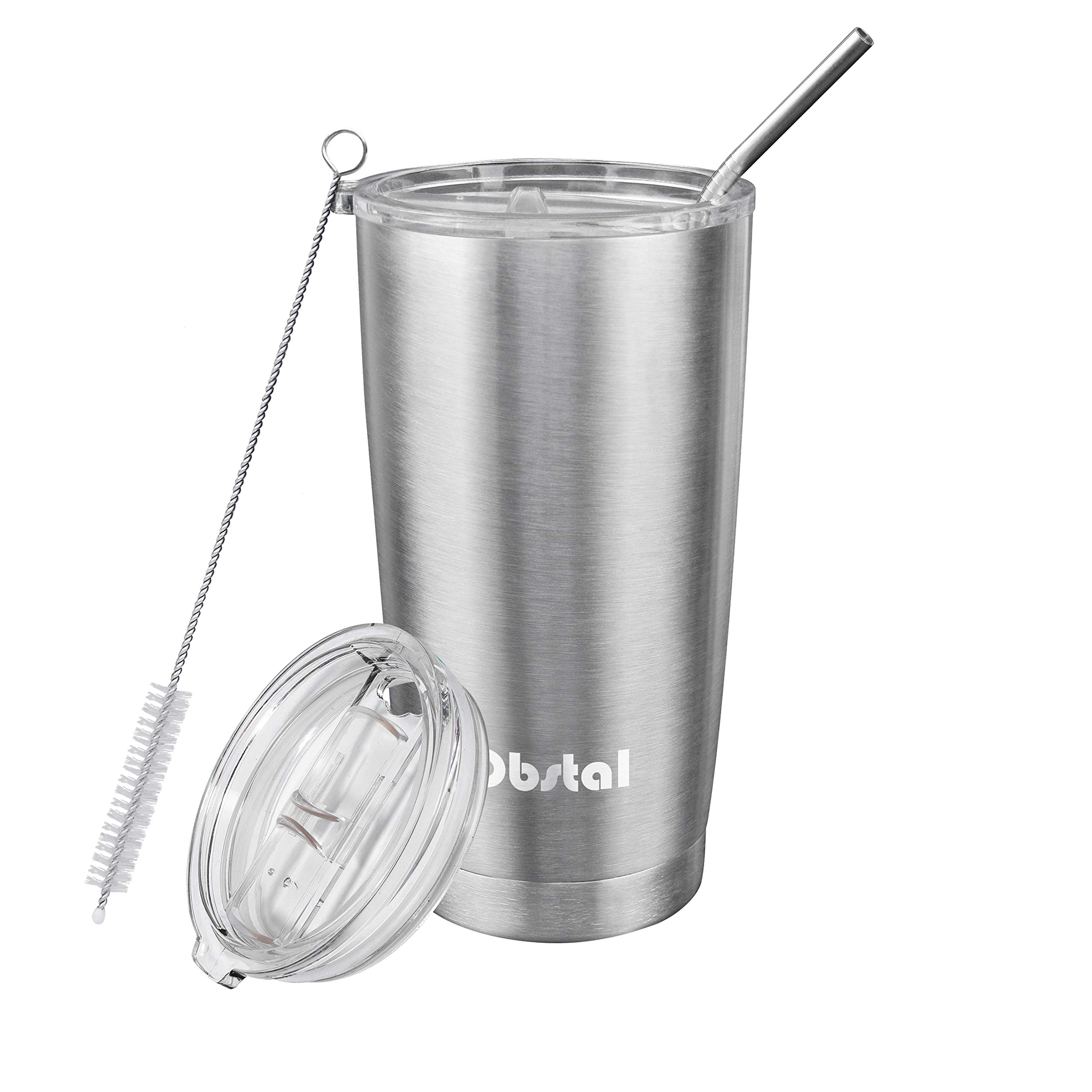 Obstal Insulated Coffee Tumbler Stainless Steel Double Wall Vacuum with Stainless Straw, 2 Clear Lids & Cleaning Brush for Office, Gift (20 oz, Silver)