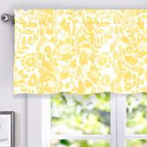 DriftAway Julia Watercolor Blooming Flower Floral Lined Thermal Insulated Window Curtain Valance Rod Pocket 52 Inch by 18 Inch Plus 2 Inch Header Yellow 1 Pack
